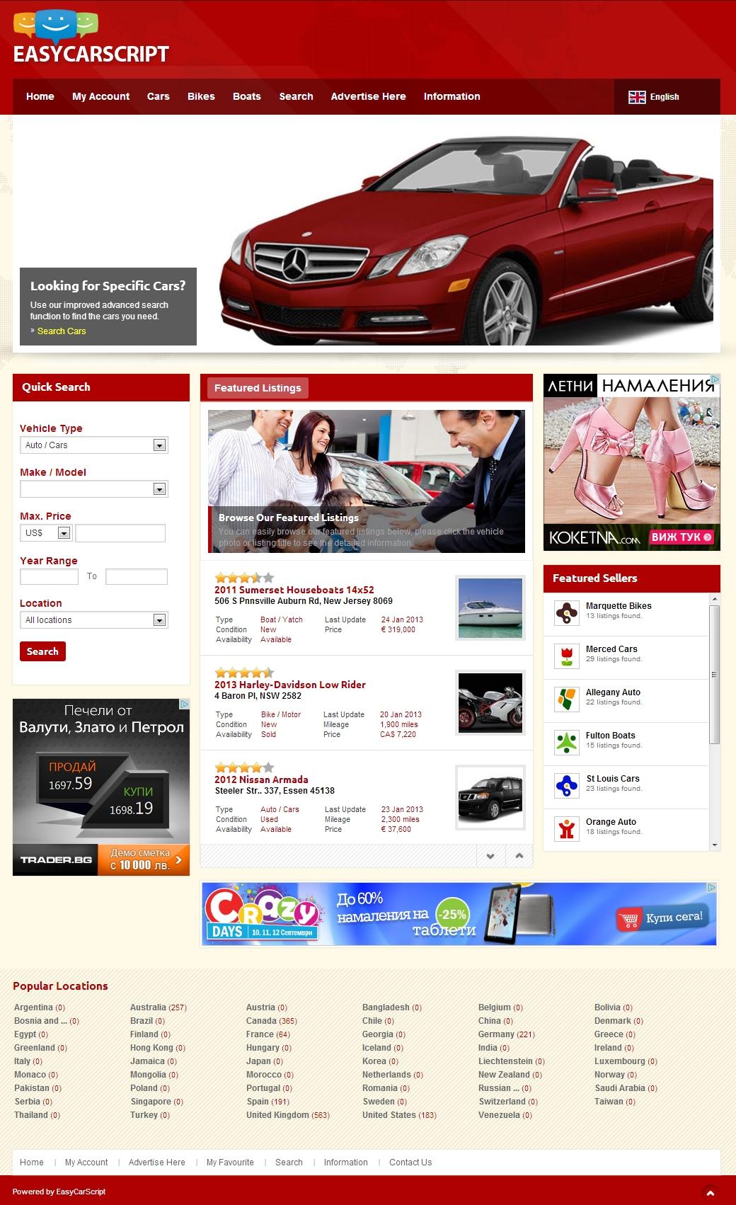 EasyCarScript   Auto Classified Ads   PHP car dealer script