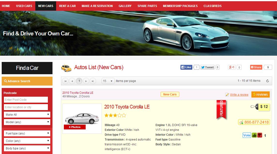 Auto Classified Ads   Autos Script   Car dealer PHP script
