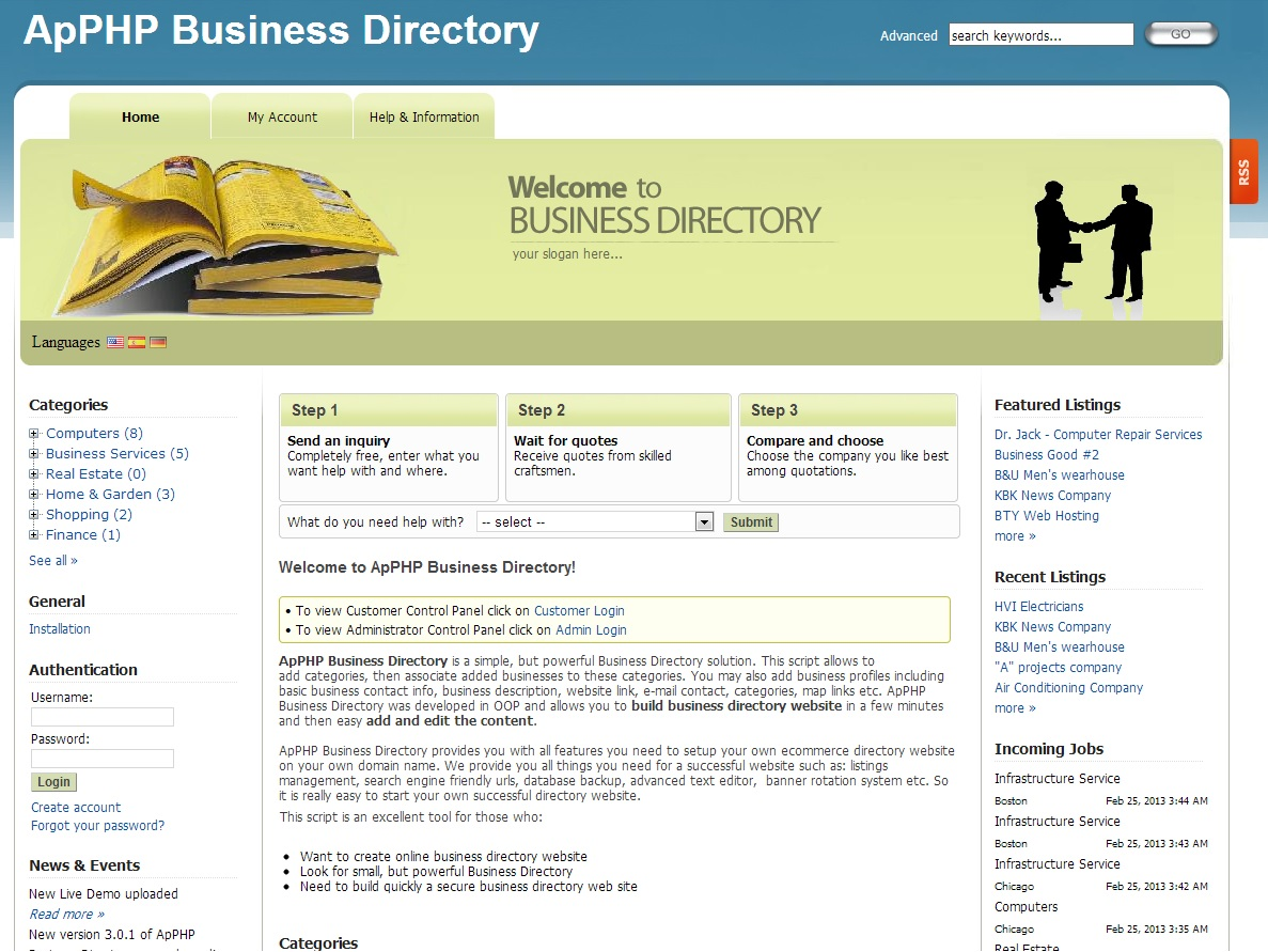 ApPHP Business Directory | Classified Ads | Yellow pages script