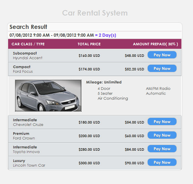 Car Rental System Php Source Code