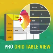 Magento extension - Pro Configurable Grid Table View, Shopping Carts Software