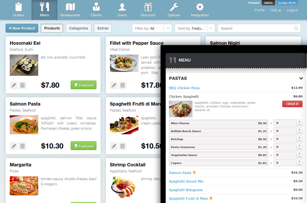 Ezyfood delivery software review for Restaurant builder software